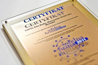 Złoty certyfikat Solidna firma